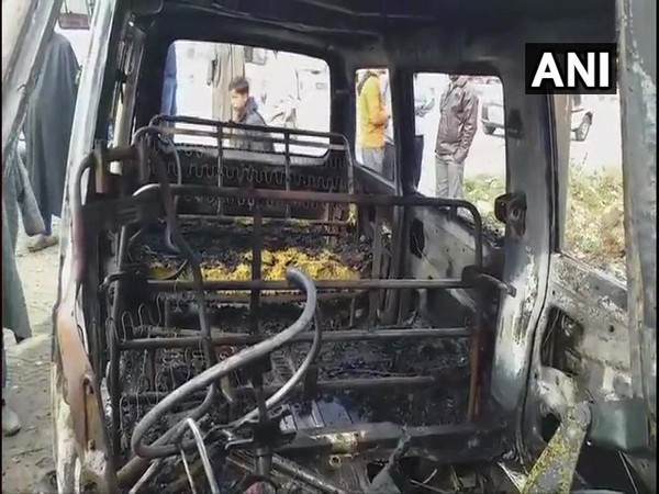 Jammu and Kashmir: Two vehicles were set ablaze by terrorists in Kulgam last night. Photo/ANI