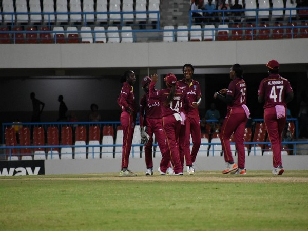 West Indies women celebrate victory over India (Photo/ Windies Cricket Twitter)