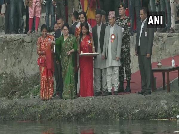 Nepal: President Bidhya Devi Bhandari performed rituals during Chhathpuja  in Kathmandu on Sunday. Photo/ANI