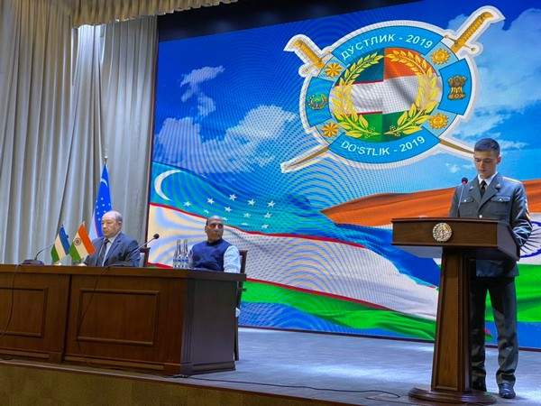 Defence Minister Rajnath Singh attends curtain raiser of Dustlik-2019 in Tashkent on Sunday. (Picture courtesy: Defence Ministry Twitter)