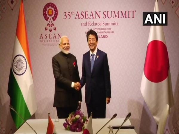 PM Narendra Modi met his Japanese counterpart Shinzo Abe on Monday. Photo/ANI