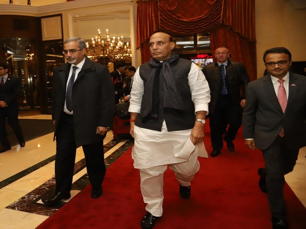 Defence Minister Rajnath Singh arrived in Moscow on Tuesday. Photo/Twitter