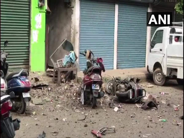 Visuals from the spot where the IED blast took place on Tuesday (Photo/ANI)