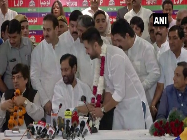LJP founder Ram Vilas Paswan with newly-elected party chief Chirag Paswan in New Delhi on Tuesday. Photo/ANI