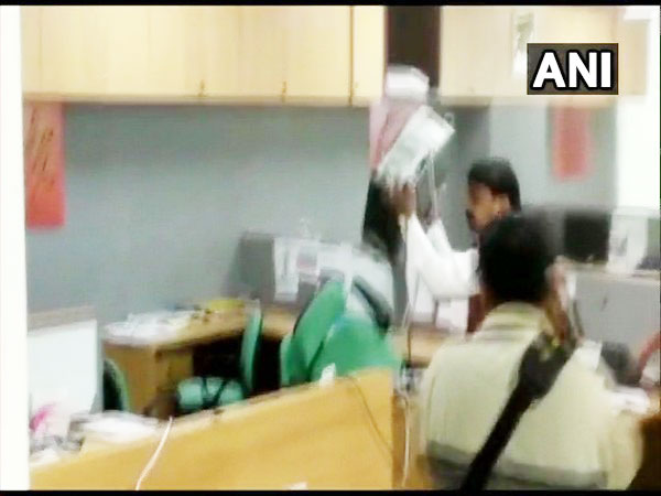 Shiv Sena workers vandalising an insurance company's office in Pune on Wednesday. Photo/ANI