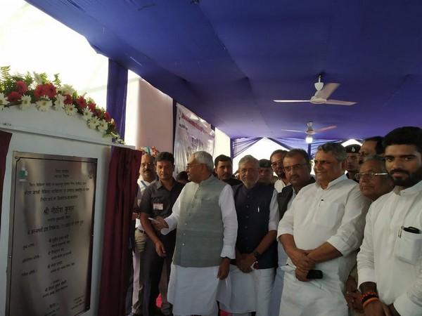 Bihar Chief Minister Nitish Kumar lays foundation stone for Shri Ram Janki Medical College and Hospital in Ujiarpur on Wednesday. Photo/ANI