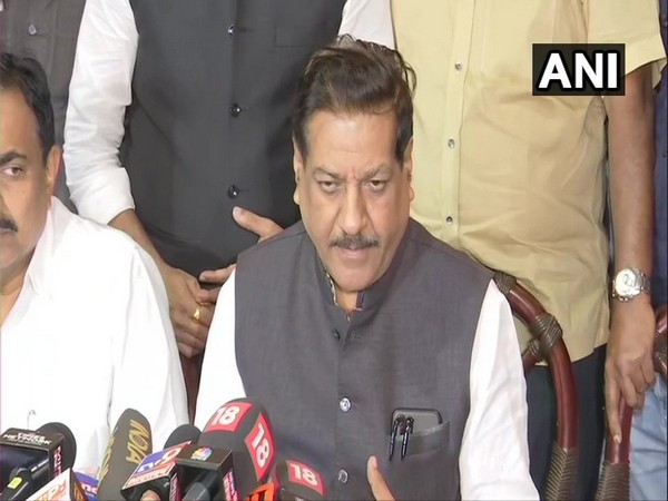 Congress leader Prithviraj Chavan speaking to media after a meeting with Shiv Sena and NCP leader in Mumbai on Friday. Photo/ANI