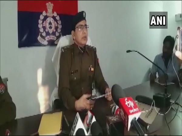 SP DV Singh addresses media in Mirzapur. Photo/ANI