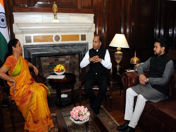 Finance Minister Nirmala Sitharaman with Himachal CM Jai Ram Thakur and Union Minister Anurag Thakur on Thursday