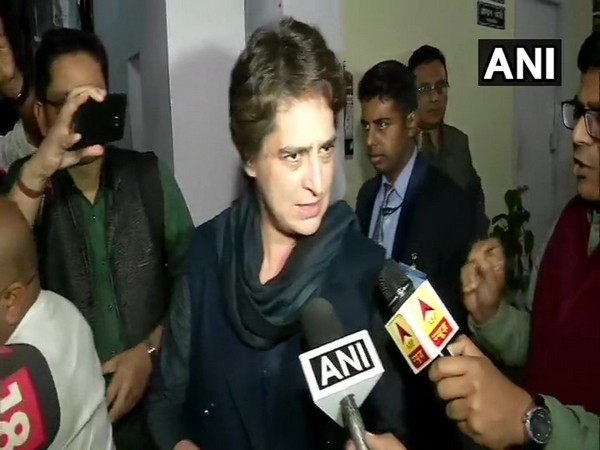 Congress leader Priyanka Gandhi Vadra talking to reporters in New Delhi on Thursday. Photo/ANI