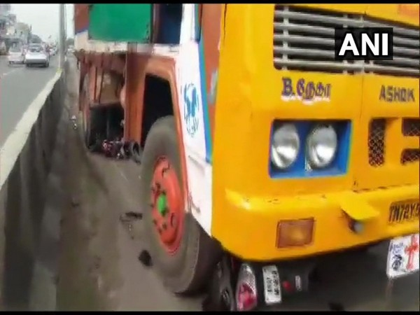 Truck hits a woman riding a scooty in Coimbatore on Monday. Photo/ANI