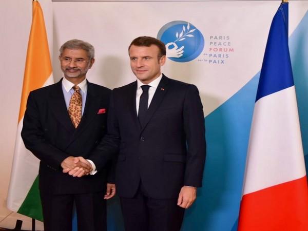 External Affairs Minister S Jaishankar here on Tuesday met French President Emmanuel Macron