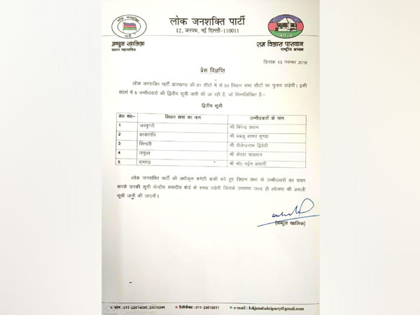 LJP is only contesting the upcoming Jharkhand assembly elections on 50 seats