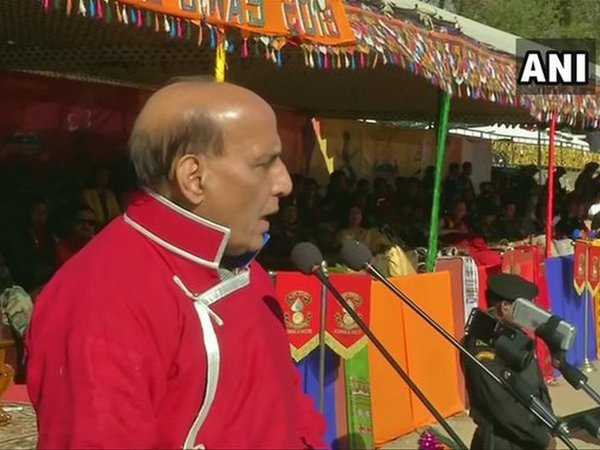 Defence Minister Rajnath Singh addressing the Maitree Diwas Celebrations in Tawang, Arunachal Pradesh on Thursday. Photo/ANI