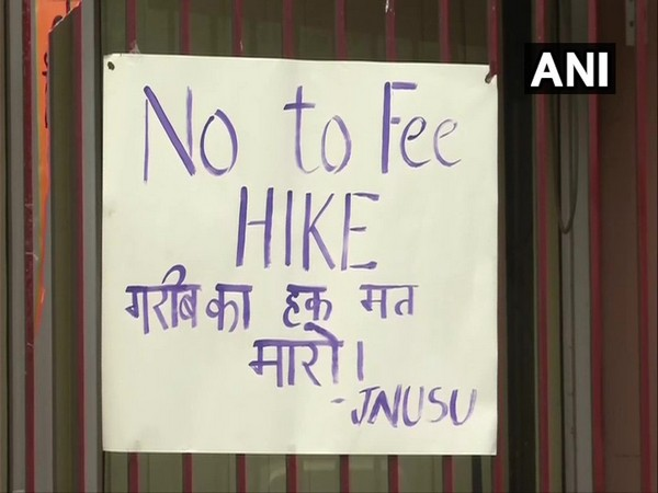 Poster put up near Jawaharlal Nehru University's (JNU) administration block (Photo/ANI)