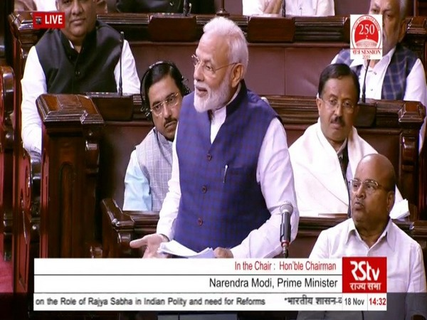 Prime Minister Narendra Modi speaking in Rajya Sabha on Monday. (Photo Credits: RSTV)