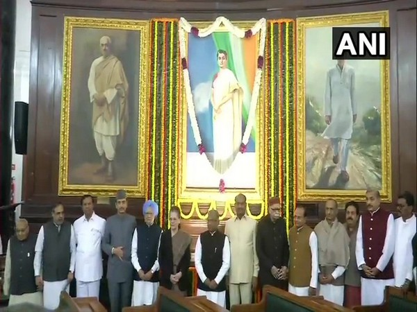 Senior BJP and Congress leaders pay respect to former Prime Minister Indira Gandhi in the Parliament on Tuesday. Photo/ANI