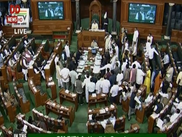 Visuals from Lok Sabha on Tuesday. (Picture courtesy: LS TV/DD News)