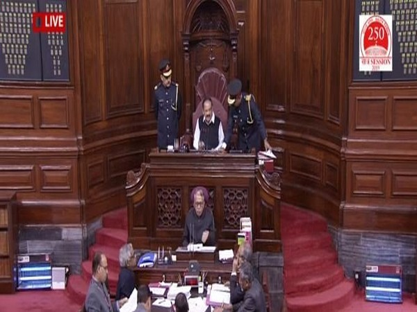 Visuals from Rajya Sabha on Tuesday. (Picture courtesy: RS TV)