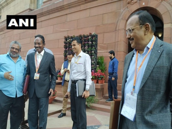 ISRO Chief K Sivan and NSA Ajit Doval at the Parliament on Tuesday.