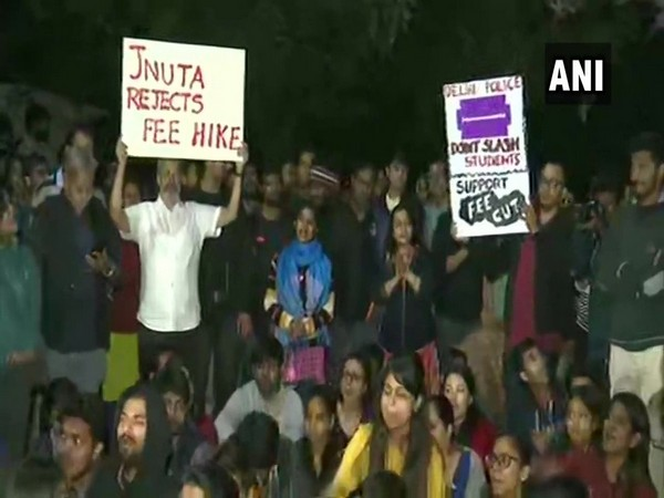 JNU students and teachers during their protest inside the campus on Tuesday. Photo/ANI