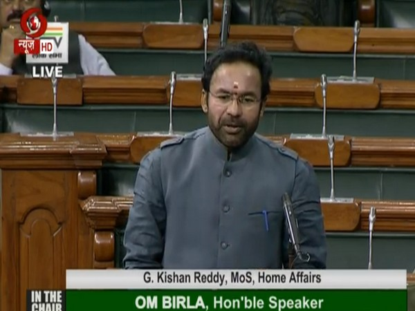 Union minister of State for Home G Kishan Reddy speaking in Lok Sabha on Tuesday (Photo/ANI)