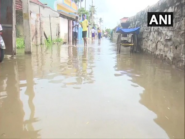 The waterlogged area of Rameswaram on Monday