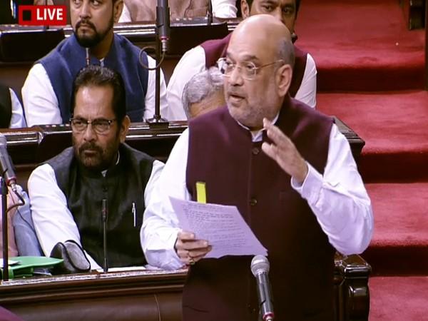 Home Minister Amit Shah speaking in Rajya Sabha on Tuesday. Photo/RSTV