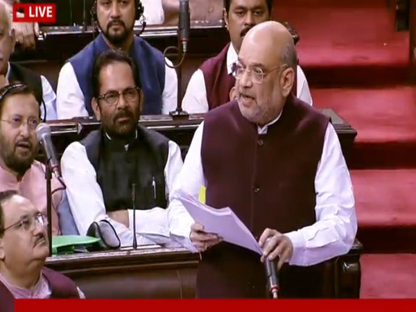 Home Minister Amit Shah speaking in Parliament on Tuesday. Photo/RSTV