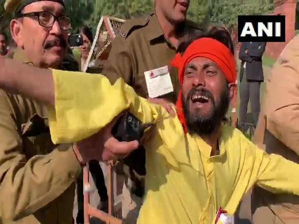 The man who tried to stop Rajnath Singh's convoy (Photo/ANI)