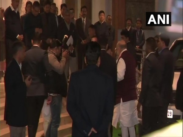 Home Minister Amit Shah at Assam Bhavan in New Delhi on Tuesday. Photo/ANI