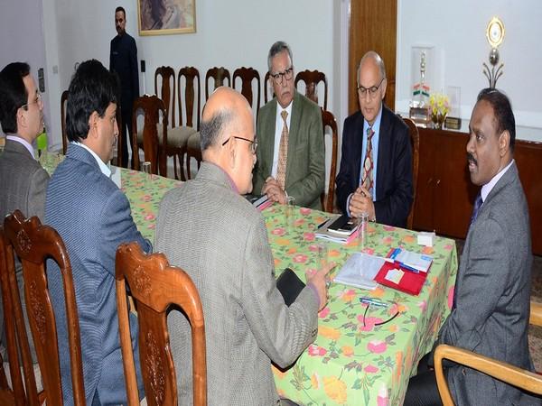 J-K Lieutenant Governor GC Murmu chairing a meeting in Jammu and Kashmir. Photo/Twitter