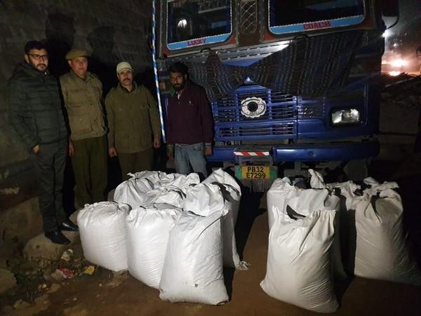 Poppy straw seized in Udhampur on Tuesday. Photo/ANI