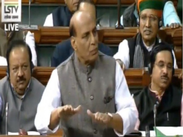 Defence Minister Rajnath Singh speaking in Lok Sabha on Wednesday. Photo/LSTV
