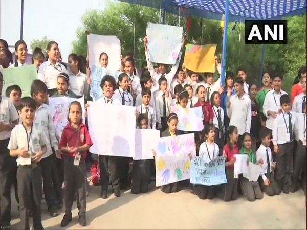 Visuals of DPS students protesting against the cancellation of affiliation by CBSE on Wednesday. Photo/ANI