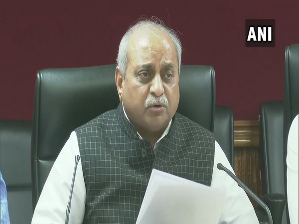 Gujarat Deputy Chief Minister Nitin Patel speaking to media persons in Ahmedabad on Saturday. Photo/ANI