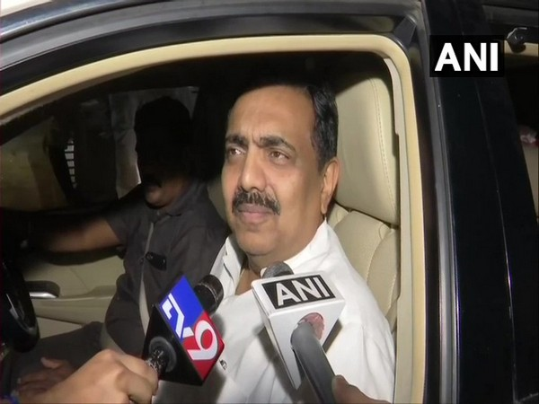 NCP leader Jayant Patil talking to reporters during wee hours of Monday. Photo/ANI