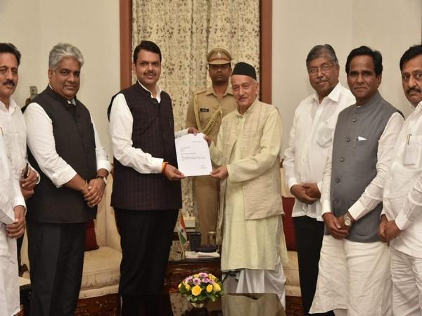 Chief Minister Devendra Fadnavis met Governor Bhagat Singh Koshyari to submit his resignation in Mumbai on Tuesday. Photo/ANI