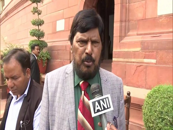 Union Minister Ramdas Athawale speaking to ANI in Parliament  on Tuesday. Photo/ANI