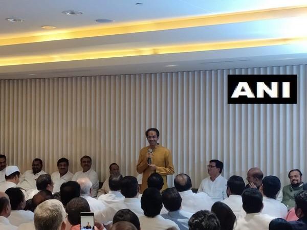 Shiv Sena chief Uddhav Thackeray addressing the joint meeting of Shiv Sena, NCP, Congress MLAs on Tuesday. Photo/ANI