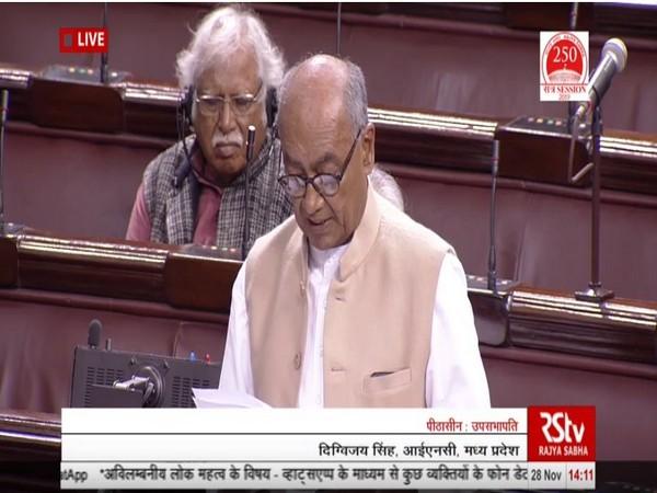 Congress leader Digvijaya Singh speaking in Rajya Sabha on Thursday (Photo/ANI)