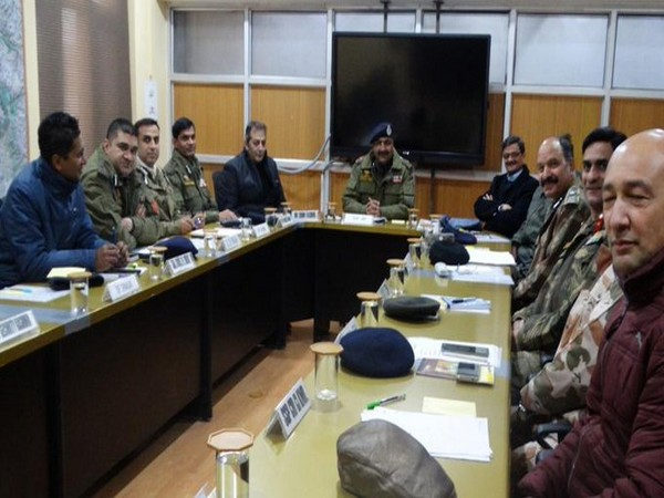 A security review meeting chaired by Jammu and Kashmir DGP Dilbag Singh on Thursday. Photo/ANI