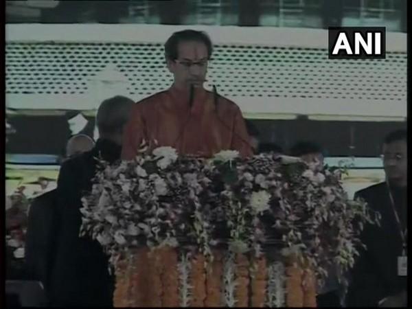 Uddhav Thackeray taking oath as the Chief Minister of Maharashtra on Thursday. Photo/ANI