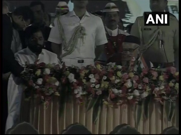 Mumbai: Shiv Sena leader Eknath Shinde took oath as minister on Thursday. Photo/ANI