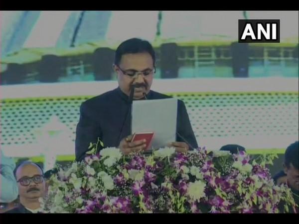 Maharashtra: NCP leader Jayant Rajaram Patil taking oath as a minister in Mumbai on Thursday. Photo/ANI