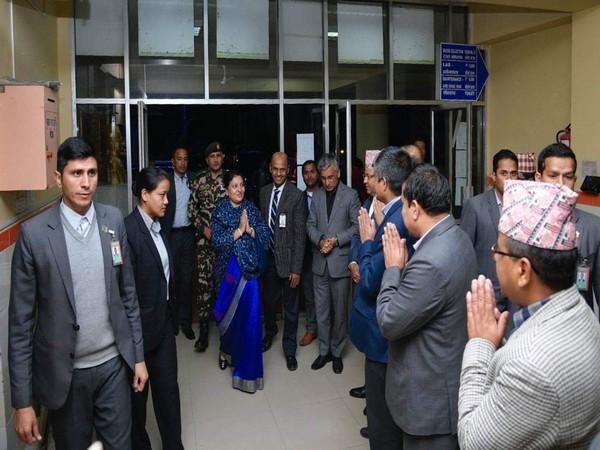 Nepal President Bidhya Devi Bhandari at Manmohan Cardiothoracic, Vascular and Transplant Centre in Kathmandu on Thursday.