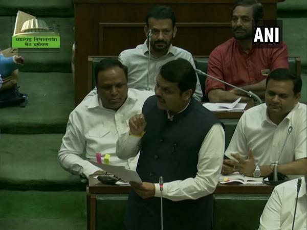 BJP leader Devendra Fadnavis speaking in Maharashtra Assembly on Saturday. Photo/ANI