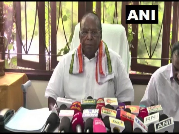 Puducherry Chief Minister V Narayanasamy addressing a press conference on Sunday. (Photo/ANI)