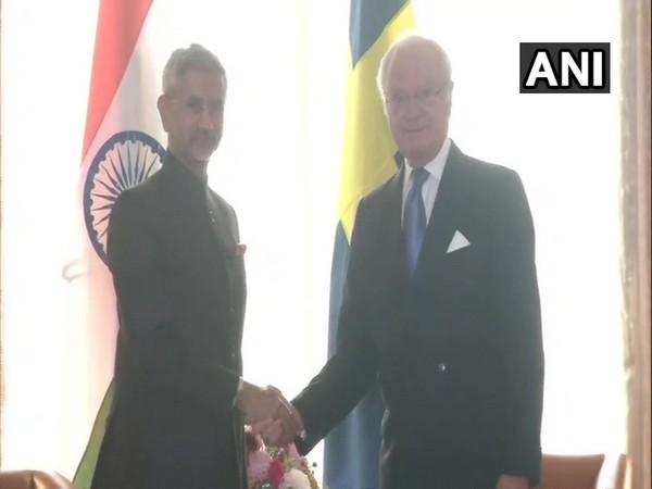 Delhi: Swedish King Carl XVI Gustaf Folke Hubertus and External Affairs Minister Subrahmanyam Jaishankar. Photo/ANI