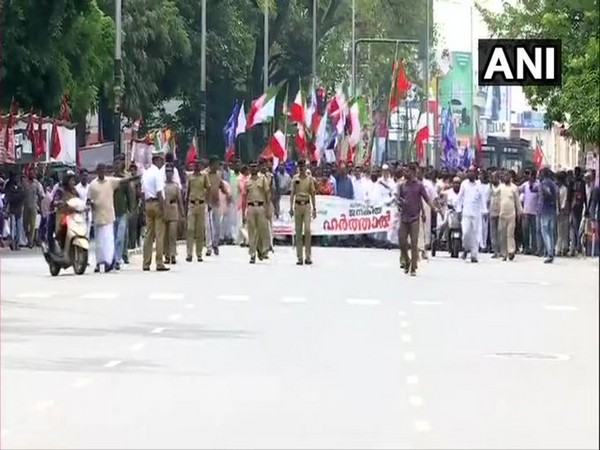 Visual of the protests against Citizenship (Amendment) Act in  Thiruvananthapuram on Tuesday. Photo/ANI
